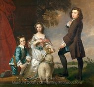 Thomas and Martha Neate with His Tutor, Thomas Needham painting reproduction, Sir Joshua Reynolds
