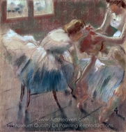 Three Dancers Preparing for Class painting reproduction, Edgar Degas