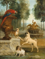 Three Dogs and a Macaw in a Park painting reproduction, Jean-Baptiste Oudry