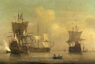 Three English Flagships Becalmed painting reproduction, Peter Monamy