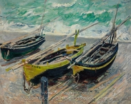 Three Fishing Boats painting reproduction, Claude Monet