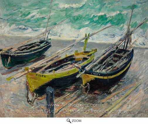 Claude Monet, Three Fishing Boats oil painting reproduction