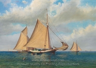 Three Gaff Rigges Sloops in a Bay painting reproduction, Francis Augustus Silva