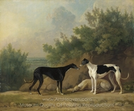 Three Greyhounds in an Extensive Landscape painting reproduction, Sawrey Gilpin