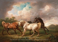 Three Horses in a Stormy Landscape painting reproduction, Charles Towne
