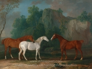 Three Hunters in a Rocky Landscape painting reproduction, Sawrey Gilpin
