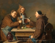 Three Monks at the Snack painting reproduction, Eduard Von Grutzner