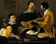 Three Musicians, Musical Trio painting reproduction, Diego Velazquez