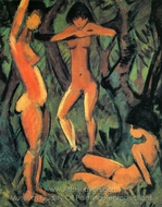 Three Nudes in the Forest painting reproduction, Otto Mueller