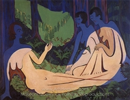 Three Nudes in the Woods painting reproduction, Ernst Ludwig Kirchner