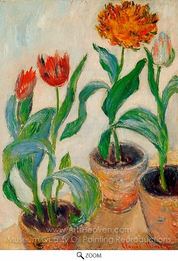 Claude Monet, Three Pots of Tulips oil painting reproduction