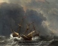 Three Ships in a Gale painting reproduction, Willem Van De Velde, The Elder