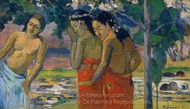Three Tahitian Women painting reproduction, Paul Gauguin