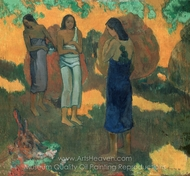 Three Tahitian Women Against a Yellow Background painting reproduction, Paul Gauguin