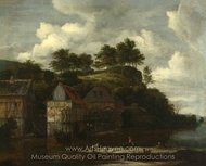 Three Watermills with Washerwomen painting reproduction, Jacob Van Ruisdael
