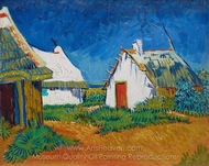 Three White Cottages in Saintes-Maries painting reproduction, Vincent Van Gogh