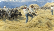 Threshing in the Abruzzi painting reproduction, Peder Severin Kroyer