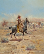 Through the Alkali painting reproduction, Charles Marion Russell