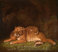 Tigers painting reproduction, Charles Towne