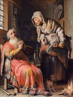 Tobit and Anna with the Kid Goat painting reproduction, Rembrandt Van Rijn