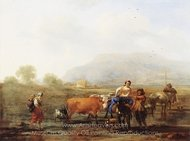 Travelling Peasants (Le Soir) painting reproduction, Nicolaes Berchem