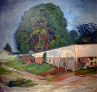 Trees and Garden Wall in Asgardstrand painting reproduction, Edvard Munch