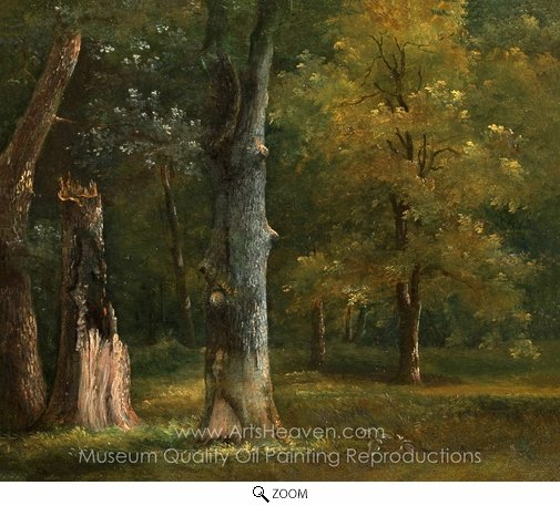 Achille-Etna Michallon, Trees in the Bois de Boulogne, Paris oil painting reproduction