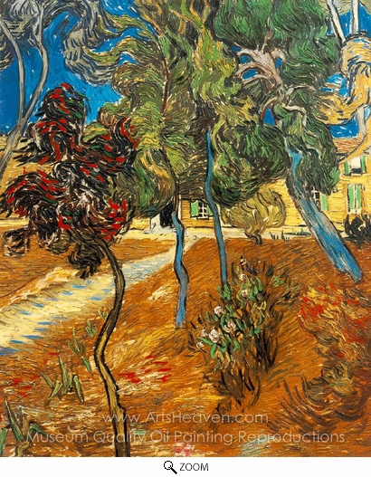 Vincent Van Gogh, Trees in the Garden of Saint-Paul Hospital oil painting reproduction