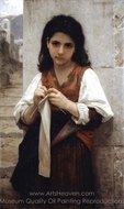 Tricoteuse painting reproduction, William A. Bouguereau