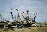 Trouville, Awaiting the Tide painting reproduction, Eugene-Louis Boudin