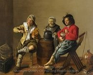 Two Boys and a Girl Making Music painting reproduction, Jan Molenaer