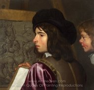 Two Boys Before an Easel painting reproduction, Jacob Van Oost