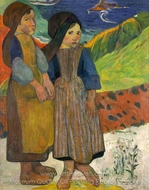 Two Breton Girls by the Sea painting reproduction, Paul Gauguin
