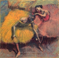 Two Dancers in Yellow and Pink painting reproduction, Edgar Degas