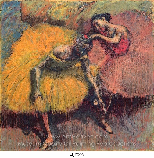 Edgar Degas, Two Dancers in Yellow and Pink oil painting reproduction