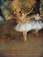 Two Dancers on the Stage painting reproduction, Edgar Degas