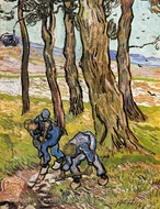 Two Diggers among Trees painting reproduction, Vincent Van Gogh