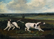 Two English Pointers with a Sportsman in a Landscape painting reproduction, John Frederick Herring Sr.