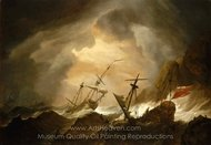 Two English Ships Wrecked in a Storm on a Rocky Coast painting reproduction, Willem Van De Velde