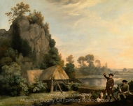 Two Gentlemen Going a Shooting, with a View of Creswell Crags, Taken on the Spot painting reproduction, George Stubbs