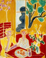 Two Girls in a Yellow and Red Interior painting reproduction, Henri Matisse