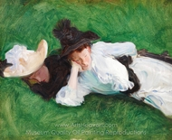 Two Girls on a Lawn painting reproduction, John Singer Sargent