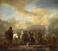 Two Horsemen at a Gypsy Encampment painting reproduction, Philips Wouwerman