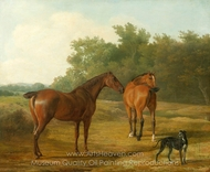 Two Horses and a Greyhound in a Landscape painting reproduction, Jacques Laurent Agasse