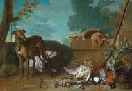 Two Hunting Dogs with Hares and Game Birds painting reproduction, Jean-Baptiste Oudry