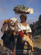 Two Italian Women with a Child painting reproduction, Jean-Leon Gerome