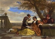 Two Men and a Young Woman Making Music on a Terrace painting reproduction, Jan Steen