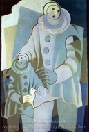 Two Pierrots painting reproduction, Juan Gris