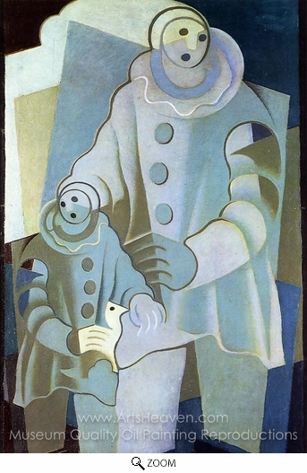 Juan Gris, Two Pierrots oil painting reproduction