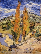 Two Poplars on a Hill painting reproduction, Vincent Van Gogh